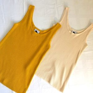 CHEEP x 2 sz XS - S tank tops ribbed stretchy NWOT